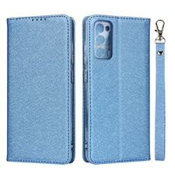 Ultra Slim Magnetic Automatic Suction Silk Lanyard Leather Flip Cover for Samsung Galaxy S20 FE / S20 Lite - Sky Blue