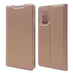 Ultra Slim Card Magnetic Automatic Suction Leather Wallet Case for Samsung Galaxy S20 FE / S20 Lite - Rose Gold