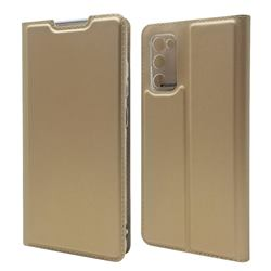 Ultra Slim Card Magnetic Automatic Suction Leather Wallet Case for Samsung Galaxy S20 FE / S20 Lite - Champagne