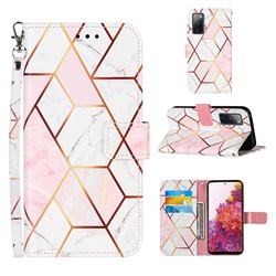 Pink White Stitching Color Marble Leather Wallet Case for Samsung Galaxy S20 FE / S20 Lite