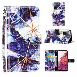 Starry Blue Stitching Color Marble Leather Wallet Case for Samsung Galaxy S20 FE / S20 Lite