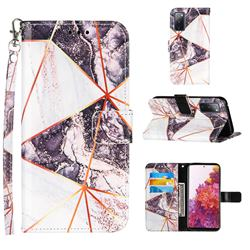 Black and White Stitching Color Marble Leather Wallet Case for Samsung Galaxy S20 FE / S20 Lite