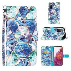 Green and Blue Stitching Color Marble Leather Wallet Case for Samsung Galaxy S20 FE / S20 Lite