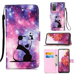 Panda Baby Matte Leather Wallet Phone Case for Samsung Galaxy S20 FE / S20 Lite