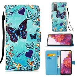 Love Butterfly Matte Leather Wallet Phone Case for Samsung Galaxy S20 FE / S20 Lite