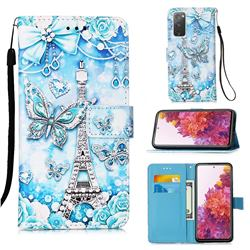 Tower Butterfly Matte Leather Wallet Phone Case for Samsung Galaxy S20 FE / S20 Lite
