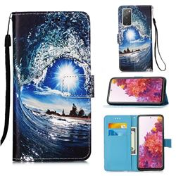 Waves and Sun Matte Leather Wallet Phone Case for Samsung Galaxy S20 FE / S20 Lite