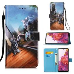 Mirror Cat Matte Leather Wallet Phone Case for Samsung Galaxy S20 FE / S20 Lite