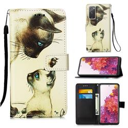 Cat Confrontation Matte Leather Wallet Phone Case for Samsung Galaxy S20 FE / S20 Lite