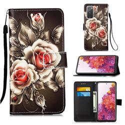 Black Rose Matte Leather Wallet Phone Case for Samsung Galaxy S20 FE / S20 Lite
