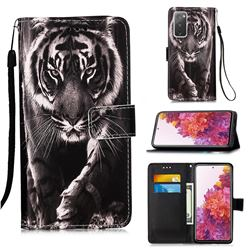 Black and White Tiger Matte Leather Wallet Phone Case for Samsung Galaxy S20 FE / S20 Lite