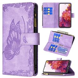 Binfen Color Imprint Vivid Butterfly Buckle Zipper Multi-function Leather Phone Wallet for Samsung Galaxy S20 FE / S20 Lite - Purple