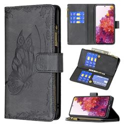 Binfen Color Imprint Vivid Butterfly Buckle Zipper Multi-function Leather Phone Wallet for Samsung Galaxy S20 FE / S20 Lite - Black