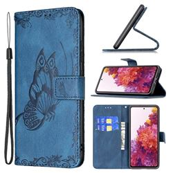 Binfen Color Imprint Vivid Butterfly Leather Wallet Case for Samsung Galaxy S20 FE / S20 Lite - Blue