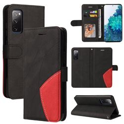 Luxury Two-color Stitching Leather Wallet Case Cover for Samsung Galaxy S20 FE / S20 Lite - Black