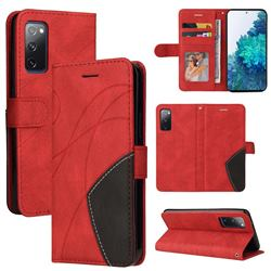 Luxury Two-color Stitching Leather Wallet Case Cover for Samsung Galaxy S20 FE / S20 Lite - Red