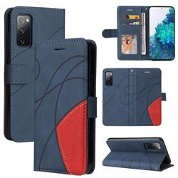 Luxury Two-color Stitching Leather Wallet Case Cover for Samsung Galaxy S20 FE / S20 Lite - Blue