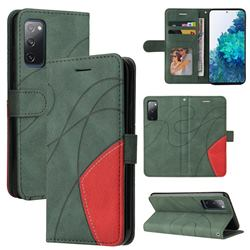 Luxury Two-color Stitching Leather Wallet Case Cover for Samsung Galaxy S20 FE / S20 Lite - Green