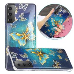 Golden Butterfly Painted Galvanized Electroplating Soft Phone Case Cover for Samsung Galaxy S21 / Galaxy S30
