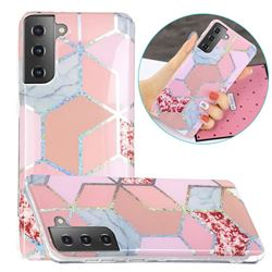 Pink Marble Painted Galvanized Electroplating Soft Phone Case Cover for Samsung Galaxy S21 / Galaxy S30