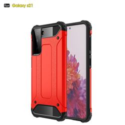 King Kong Armor Premium Shockproof Dual Layer Rugged Hard Cover for Samsung Galaxy S21 - Big Red
