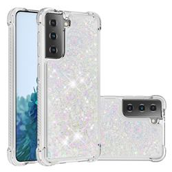 Dynamic Liquid Glitter Sand Quicksand Star TPU Case for Samsung Galaxy S21 - Pink