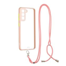 Necklace Cross-body Lanyard Strap Cord Phone Case Cover for Samsung Galaxy S21 - Pink