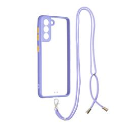 Necklace Cross-body Lanyard Strap Cord Phone Case Cover for Samsung Galaxy S21 - Purple