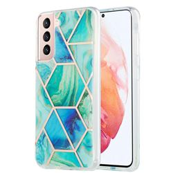 Green Glacier Marble Pattern Galvanized Electroplating Protective Case Cover for Samsung Galaxy S21