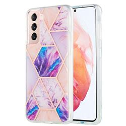 Purple Dream Marble Pattern Galvanized Electroplating Protective Case Cover for Samsung Galaxy S21