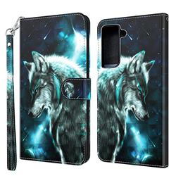 Snow Wolf 3D Painted Leather Wallet Case for Samsung Galaxy S30 / Galaxy S21