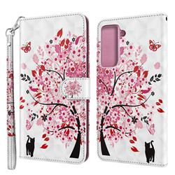 Tree and Cat 3D Painted Leather Wallet Case for Samsung Galaxy S30 / Galaxy S21