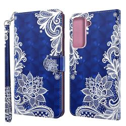 White Lace 3D Painted Leather Wallet Case for Samsung Galaxy S30 / Galaxy S21