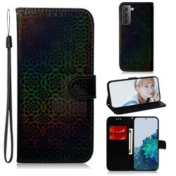 Laser Circle Shining Leather Wallet Phone Case for Samsung Galaxy S21 / Galaxy S30 - Black