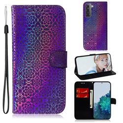 Laser Circle Shining Leather Wallet Phone Case for Samsung Galaxy S21 / Galaxy S30 - Purple