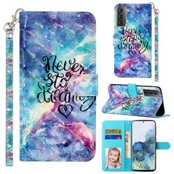 Blue Starry Sky 3D Leather Phone Holster Wallet Case for Samsung Galaxy S21 / Galaxy S30