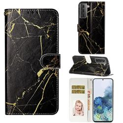 Black Gold Marble PU Leather Wallet Case for Samsung Galaxy S21 / Galaxy S30
