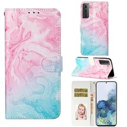Pink Green Marble PU Leather Wallet Case for Samsung Galaxy S21 / Galaxy S30