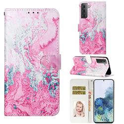 Pink Seawater PU Leather Wallet Case for Samsung Galaxy S21 / Galaxy S30