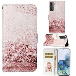 Glittering Rose Gold PU Leather Wallet Case for Samsung Galaxy S21 / Galaxy S30