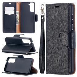 Classic Luxury Litchi Leather Phone Wallet Case for Samsung Galaxy S21 / Galaxy S30 - Black