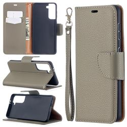 Classic Luxury Litchi Leather Phone Wallet Case for Samsung Galaxy S21 / Galaxy S30 - Gray