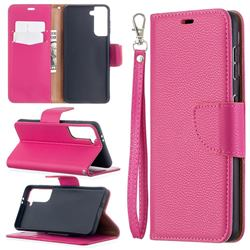 Classic Luxury Litchi Leather Phone Wallet Case for Samsung Galaxy S21 / Galaxy S30 - Rose