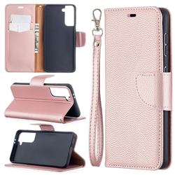 Classic Luxury Litchi Leather Phone Wallet Case for Samsung Galaxy S21 / Galaxy S30 - Golden