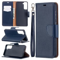 Classic Luxury Litchi Leather Phone Wallet Case for Samsung Galaxy S21 / Galaxy S30 - Blue