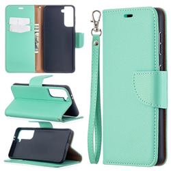 Classic Luxury Litchi Leather Phone Wallet Case for Samsung Galaxy S21 / Galaxy S30 - Green