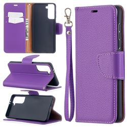Classic Luxury Litchi Leather Phone Wallet Case for Samsung Galaxy S21 / Galaxy S30 - Purple