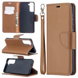 Classic Luxury Litchi Leather Phone Wallet Case for Samsung Galaxy S21 / Galaxy S30 - Brown