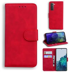 Retro Classic Skin Feel Leather Wallet Phone Case for Samsung Galaxy S21 / Galaxy S30 - Red