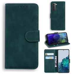 Retro Classic Skin Feel Leather Wallet Phone Case for Samsung Galaxy S21 / Galaxy S30 - Green